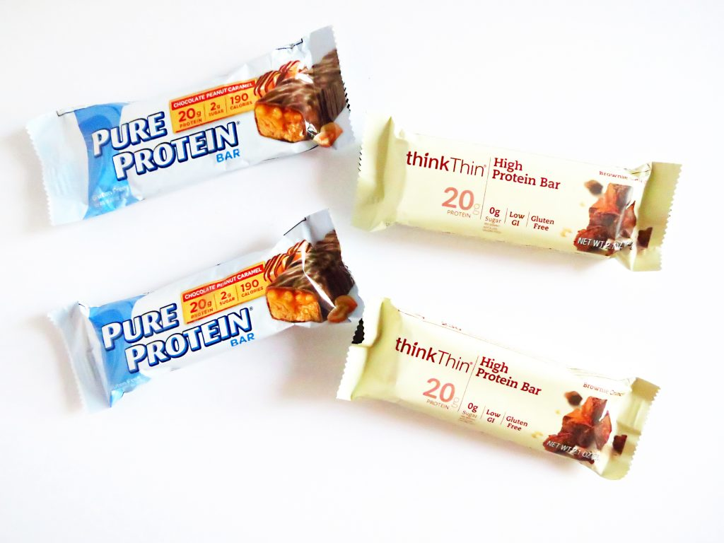 Pure Protein bars and Think Thin protein bars healthy travel foods